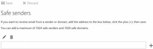 Safe senders form