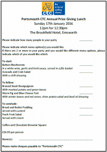 Prize-giving lunch form